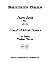 Piano book No.3 classical music scores -12 pieces with mp3 audio