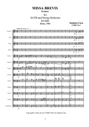 Book of the Missa brevis for SATB and Strings with transcription for Organ